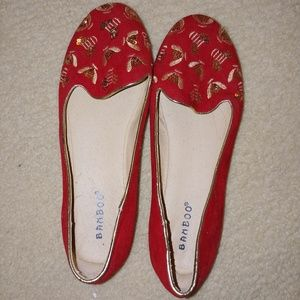 Bright Red Embroidered Flats